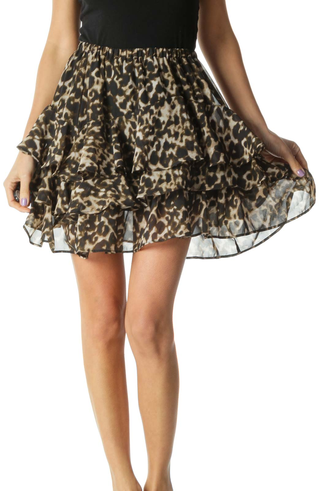 Black and Brown Cheetah Print Tiered Ruffled Flared Skirt