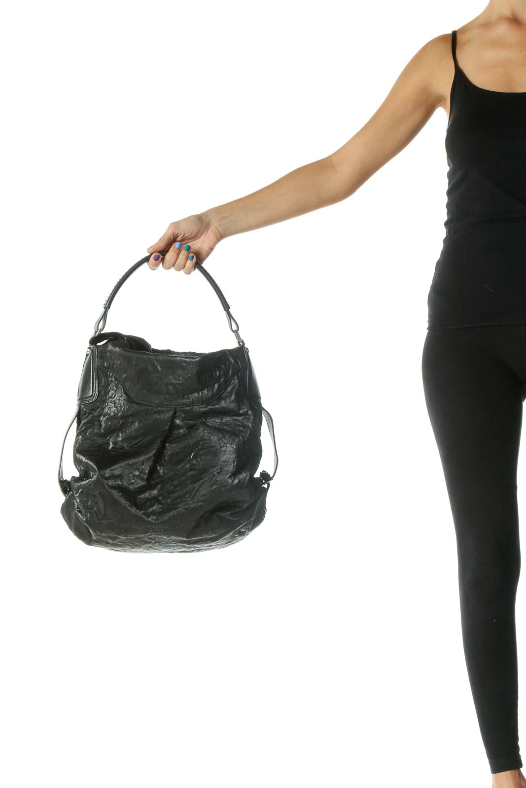 Black Silver Hardware Pocketed Tote