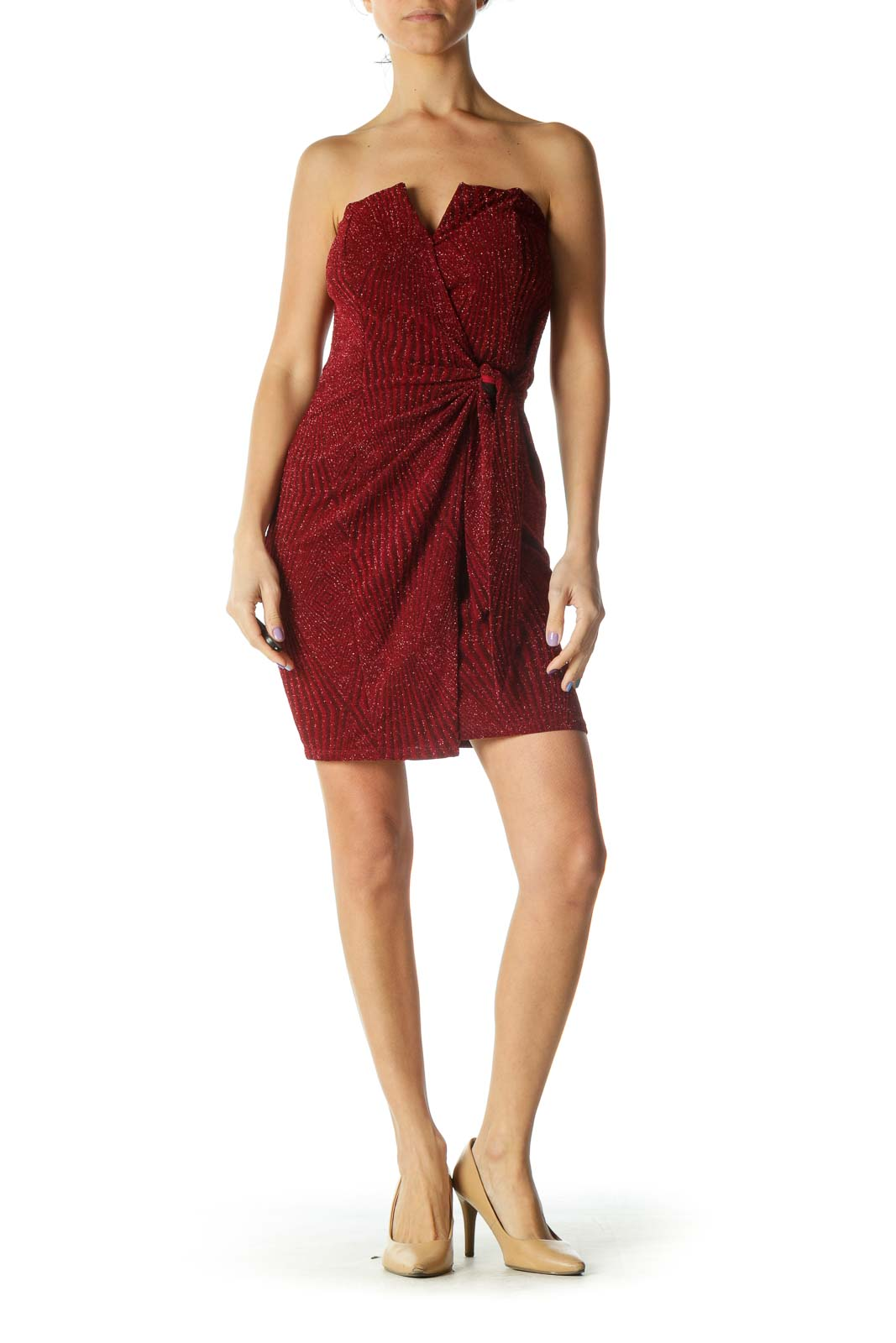 Red Sweetheart Neck Wrap Cocktail Dress