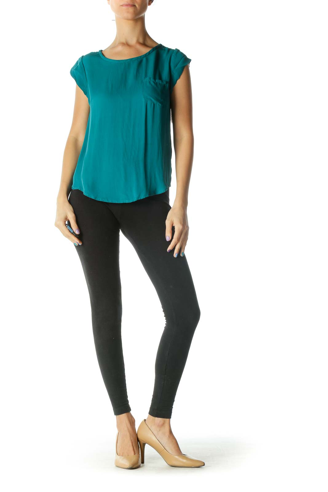 Green Cap Sleeve Round Neck Blouse