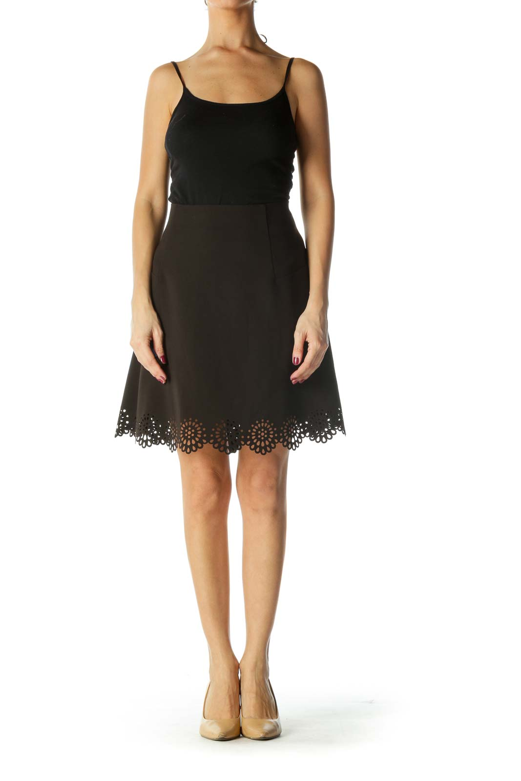 Black High Waisted Lazer Cut Flared Skirt