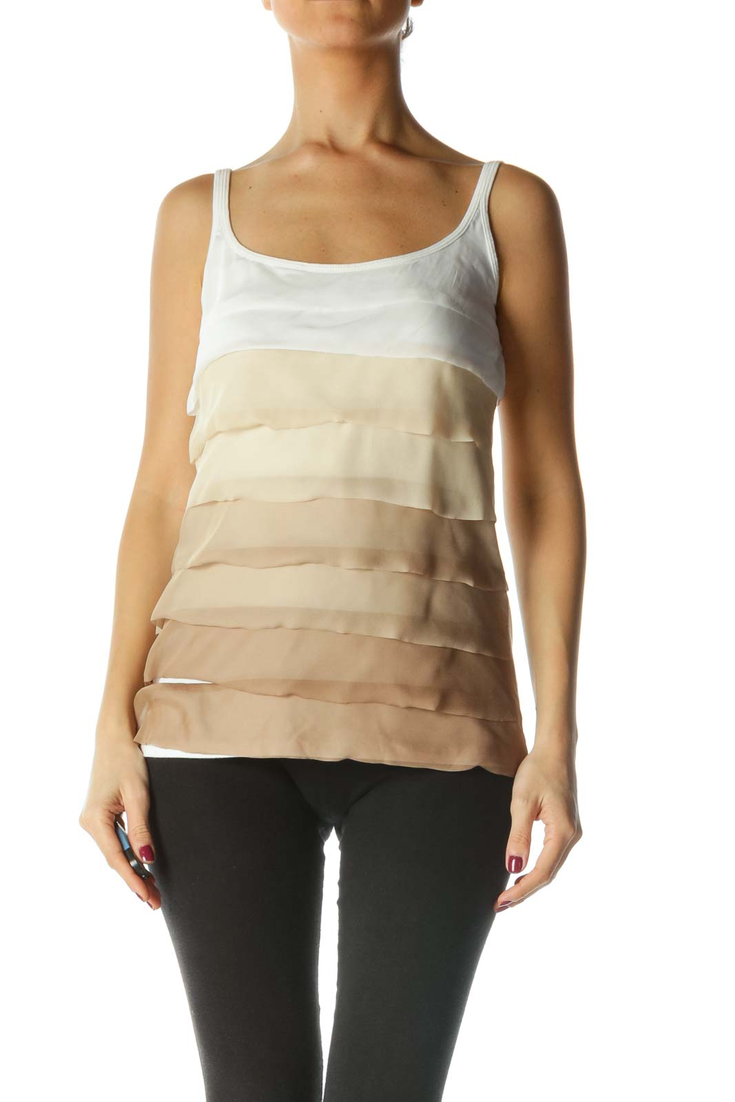 White and Brown Layered Ombre Tank Top