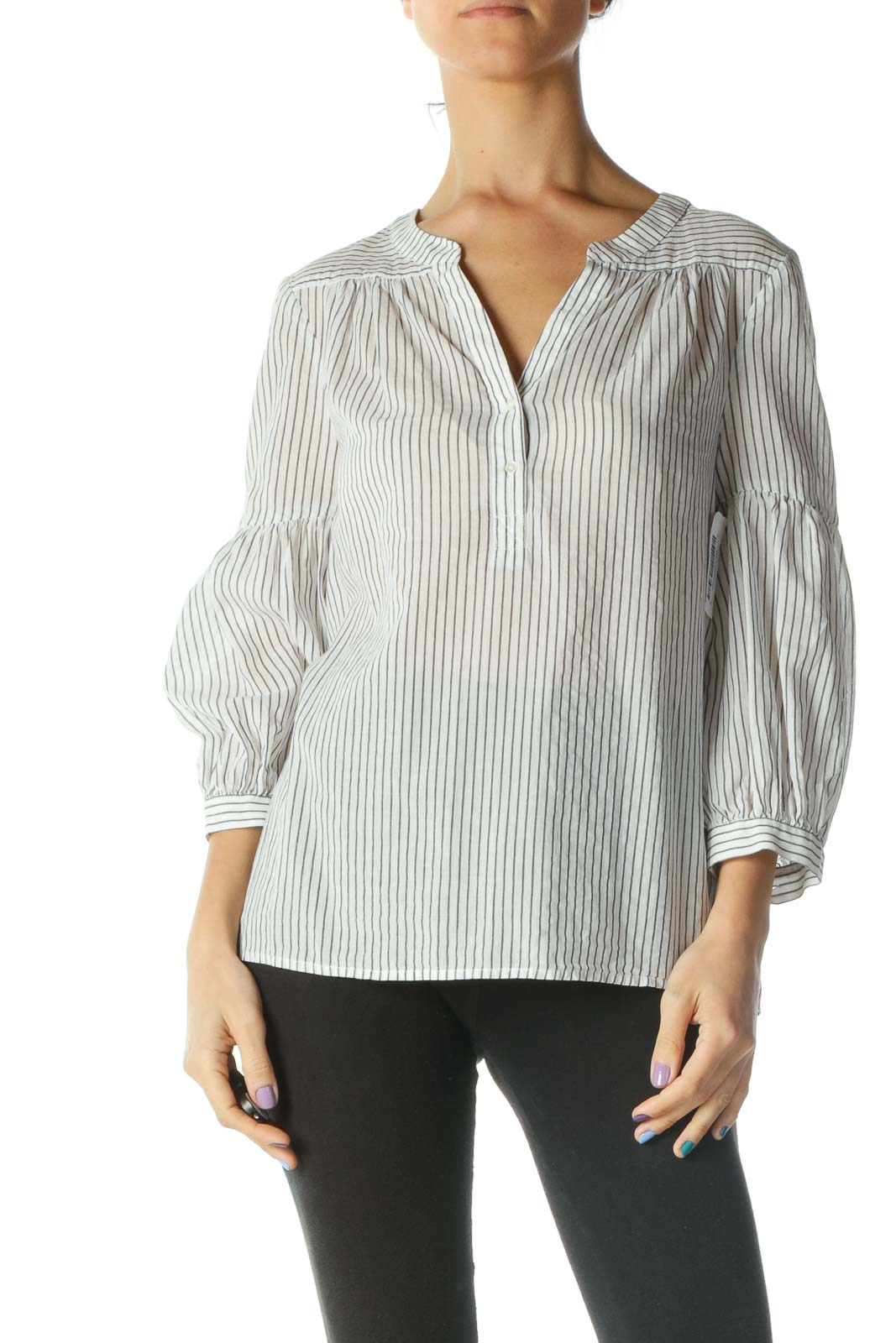 White and Grey Striped Bell Sleeve Shirt