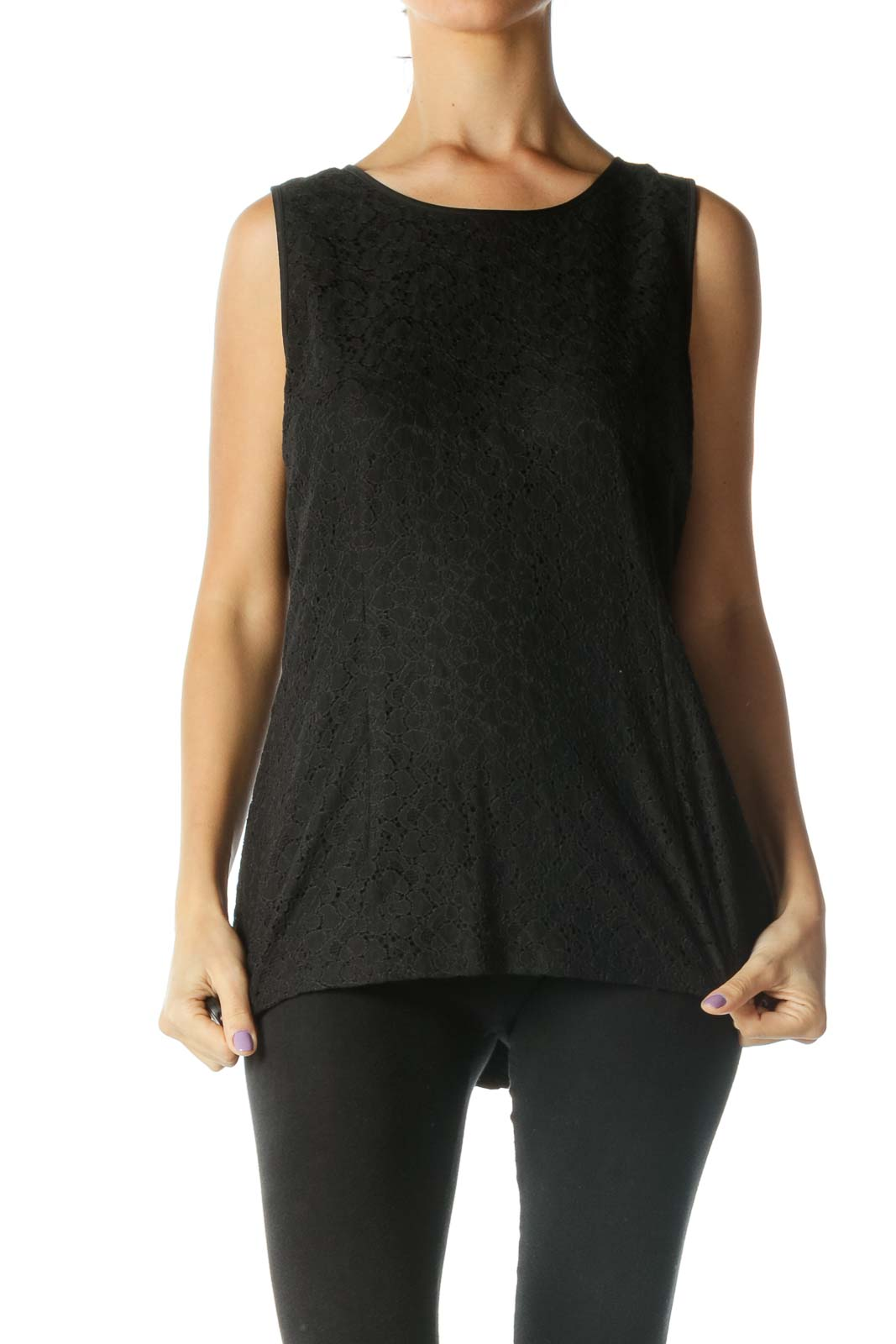 Black Scoop Neck Back Zipper Lace Blouse