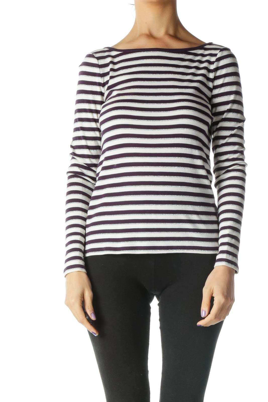 White, Purple, and Silver Striped Long Sleeve Top