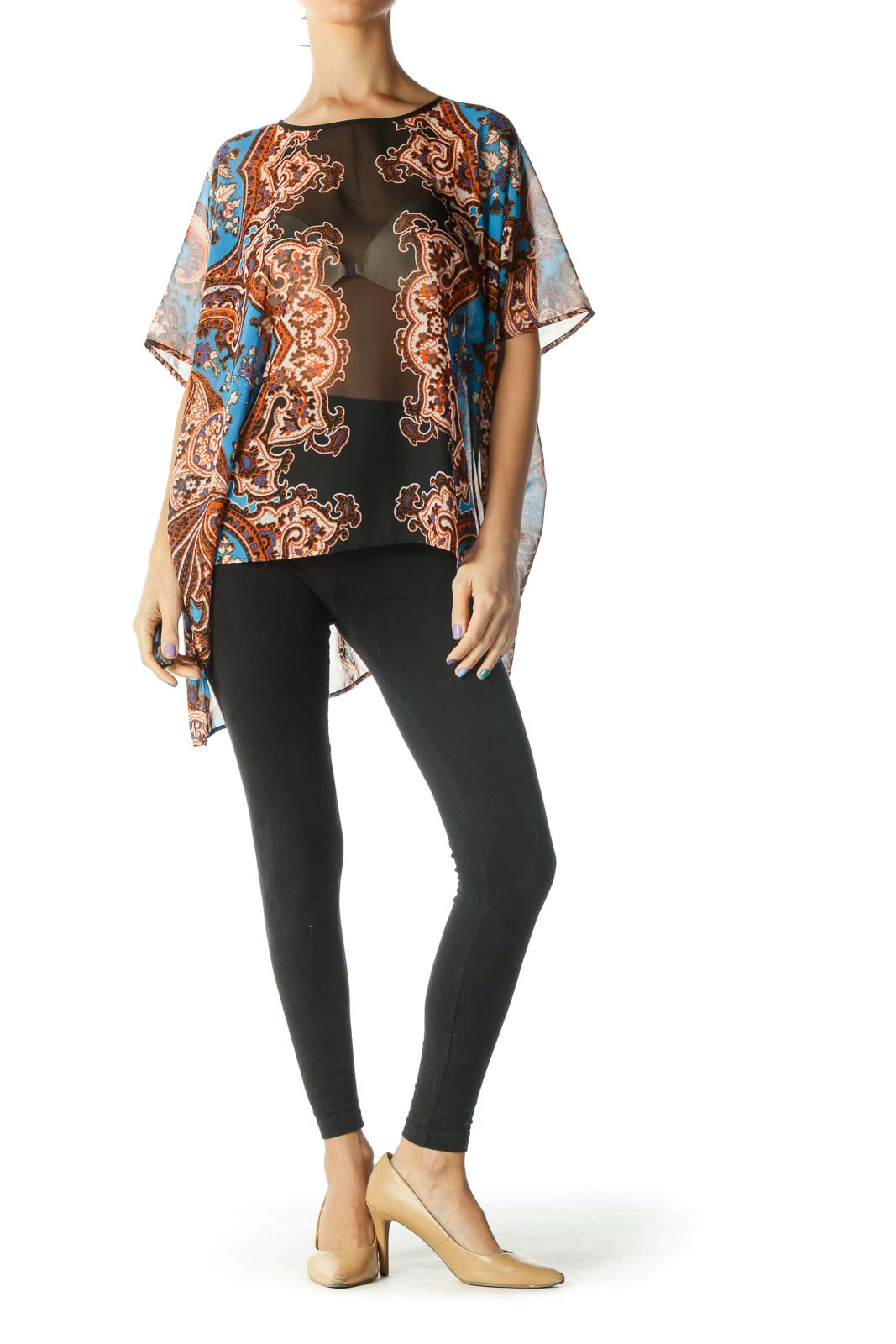 Black, Blue, and Orange See Through Floral Print Flowy Blouse