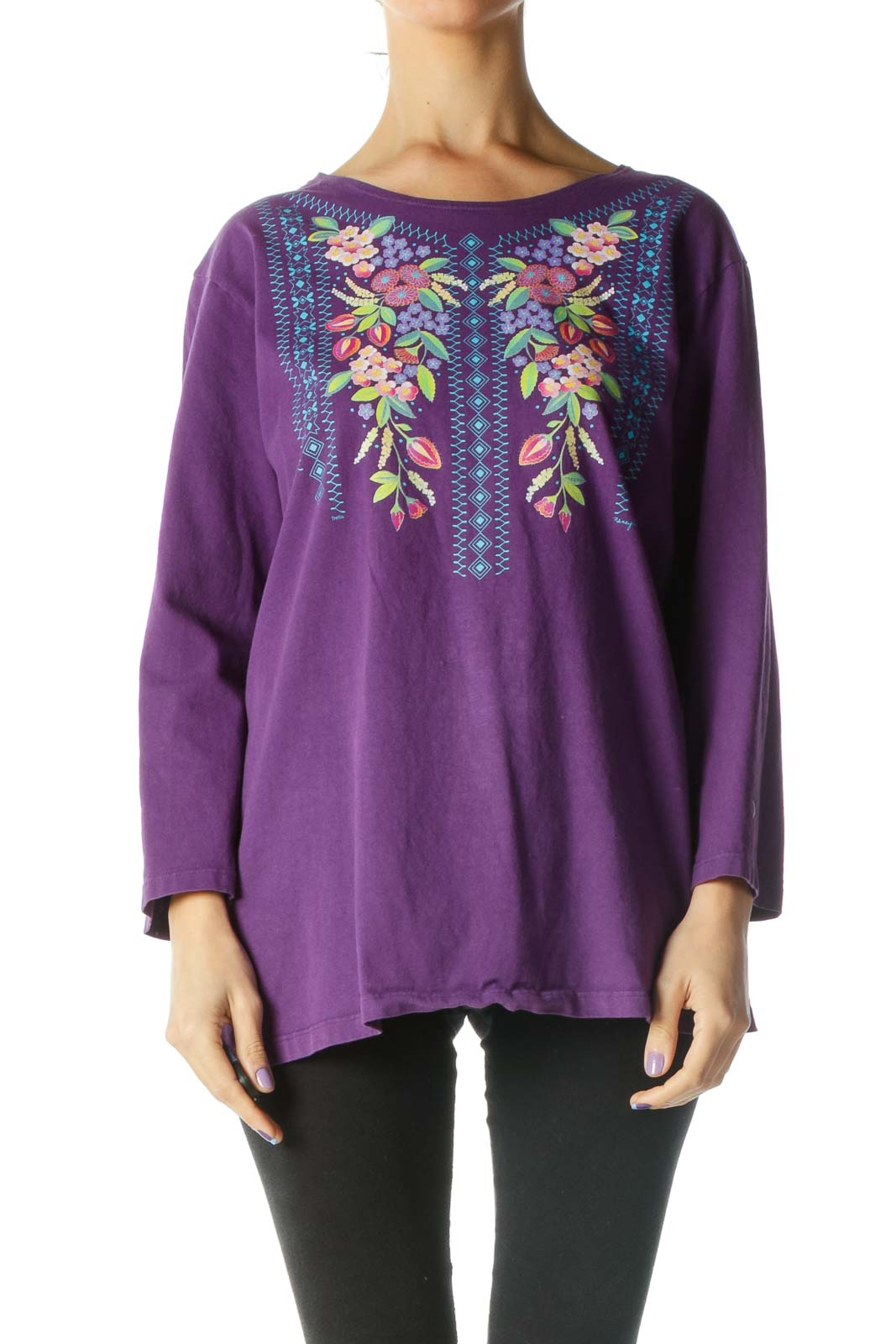 Purple 3/4 Sleeve Round Neck Shirt