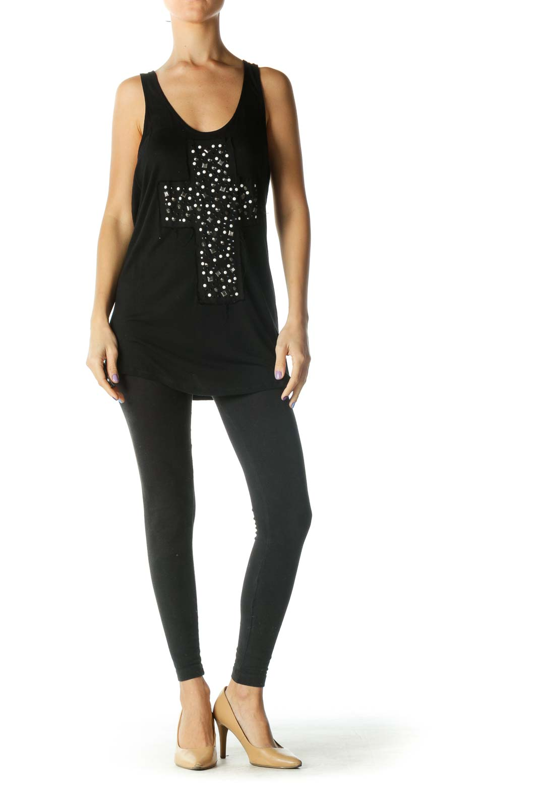 Black, Silver and White Studded Scoop Neck Tank Top