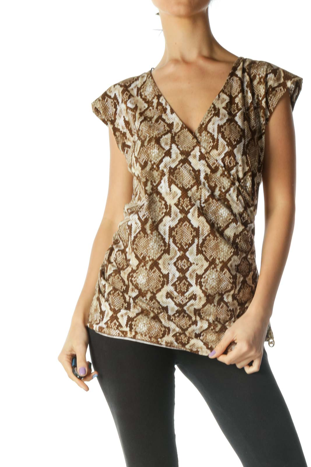 Brown and Beige Wrap Snake Print Shirt