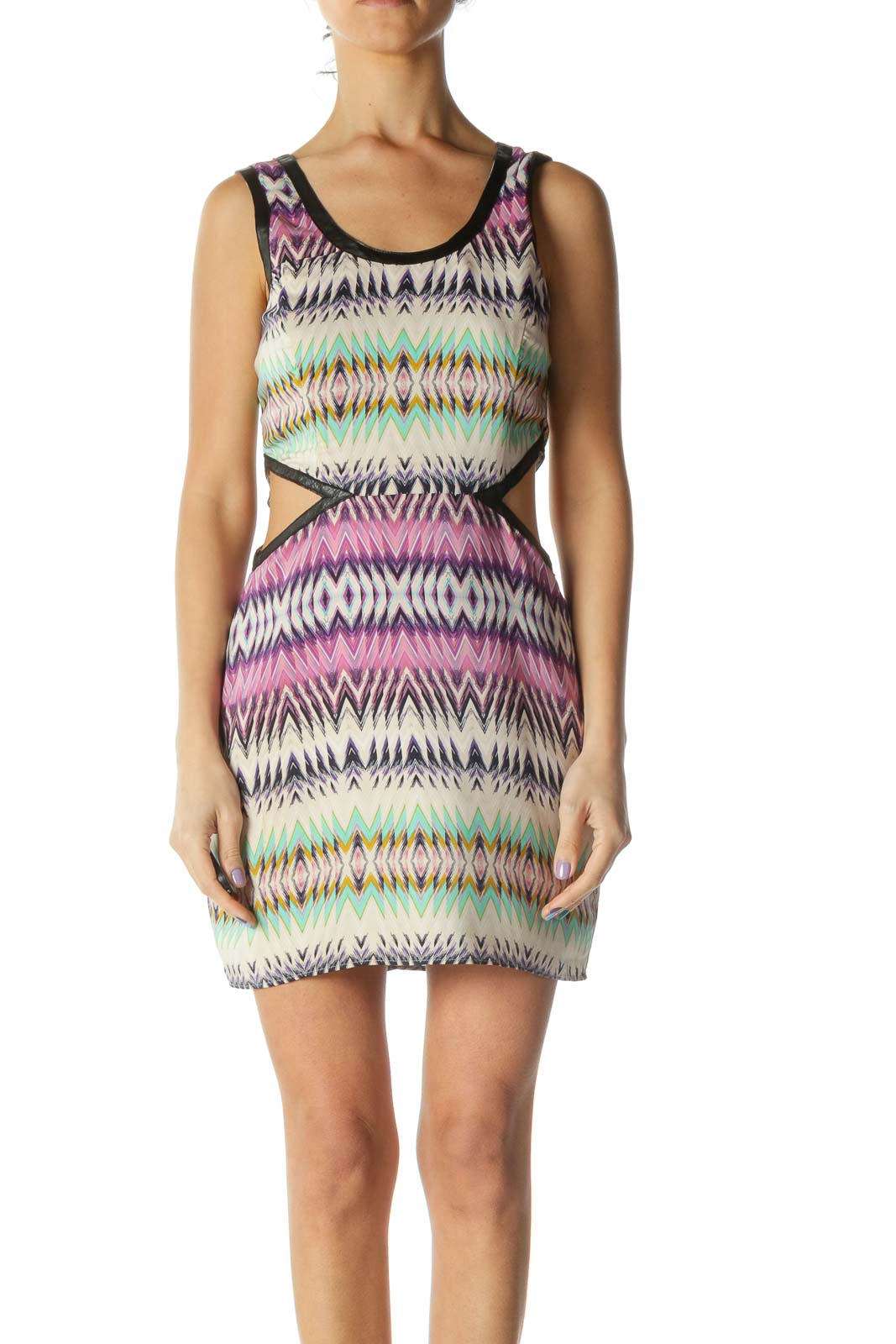 Multicolored Cut-out Contrasting Piping Cocktail Dress
