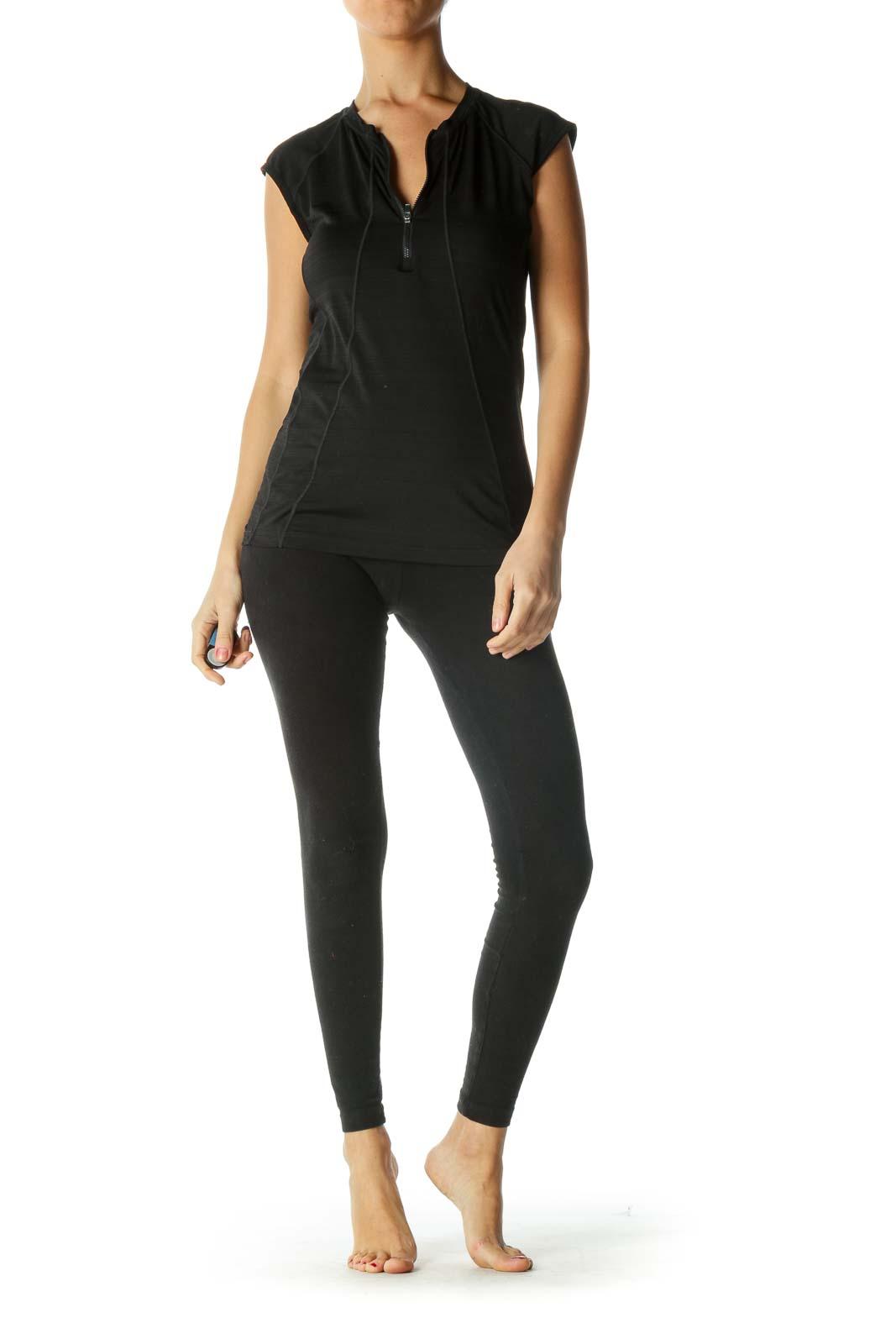 Black Zippered Stretch Sleeveless Active Top