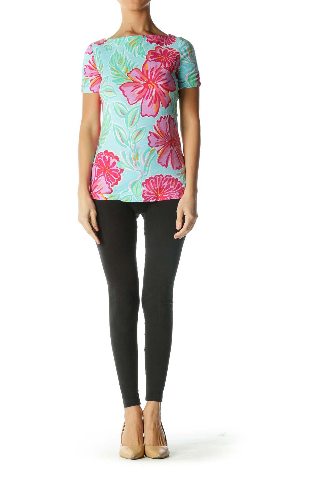 Pink Blue Orange 100% Cotton Floral Print T-Shirt
