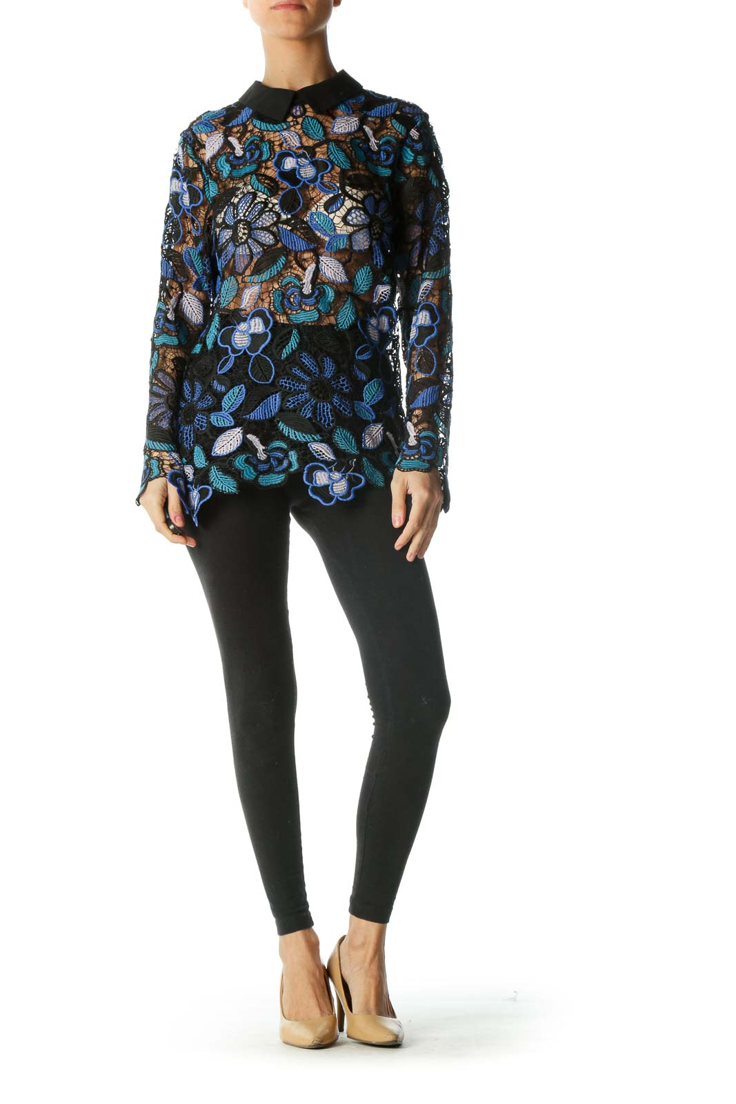 Black Blue See-Through Floral Knit Shirt