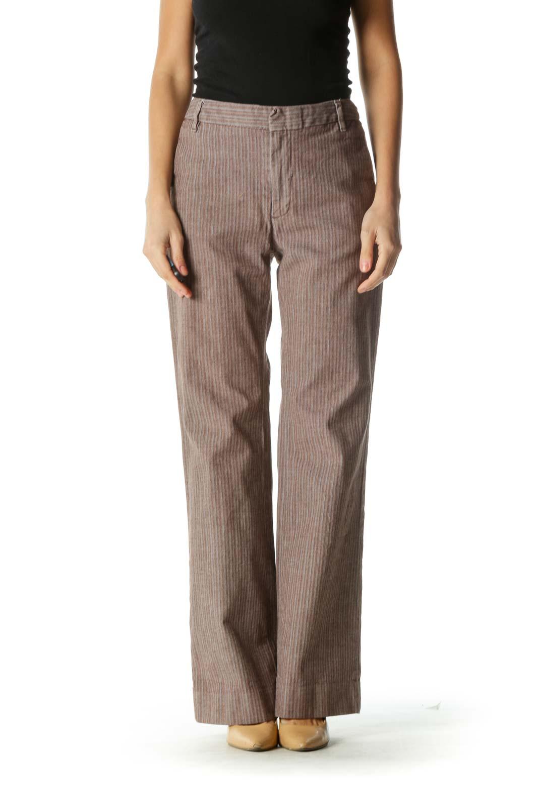 Brown Striped Wide-Leg Pants
