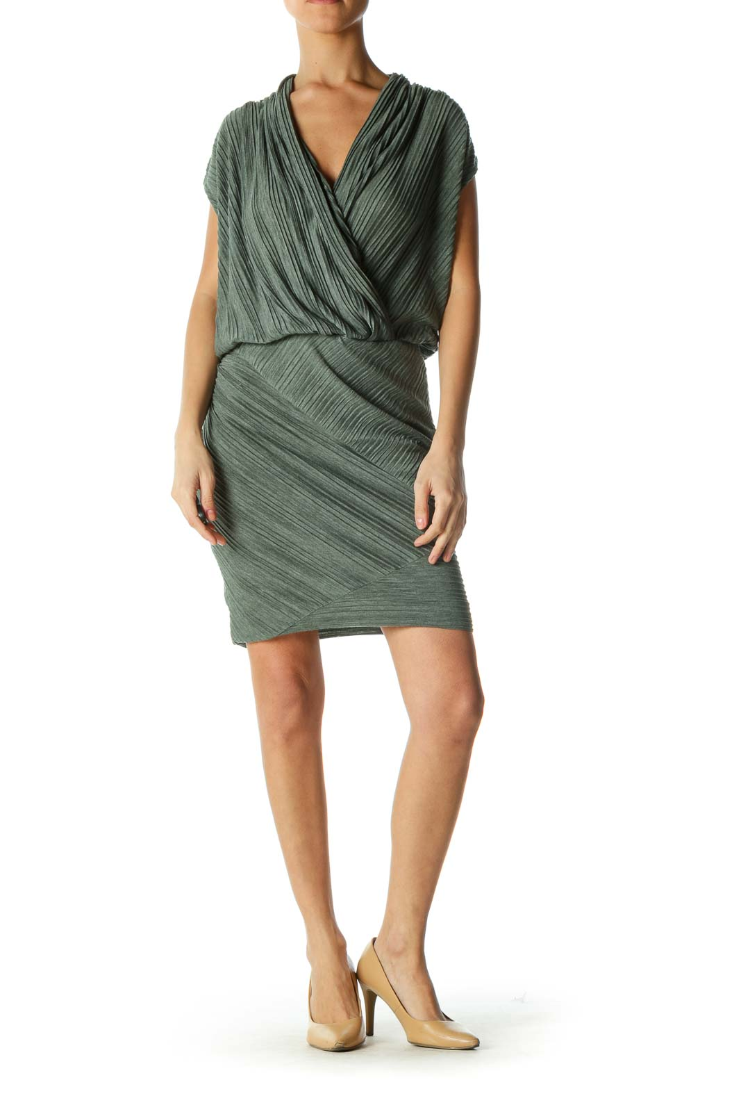 Green V-neck Dress