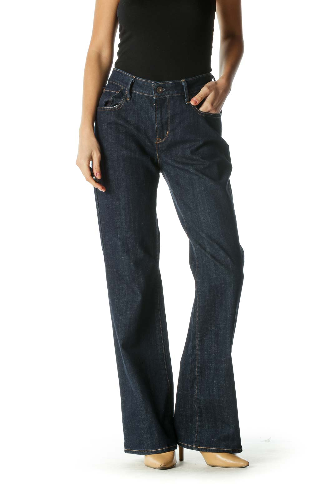 Blue Dark Wash Wide Boot Cut Jeans