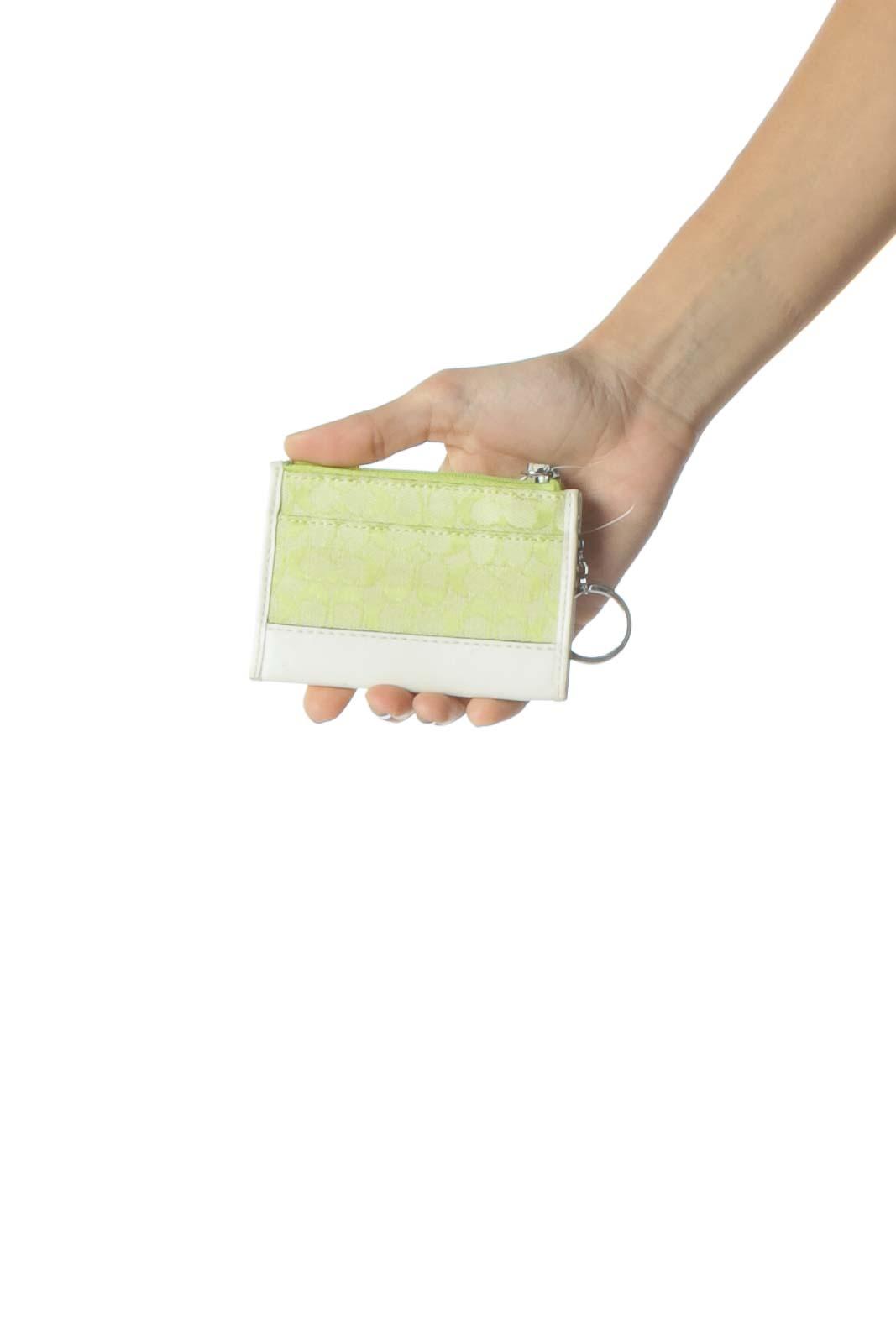 Cream and Neon Green Logo Wallet