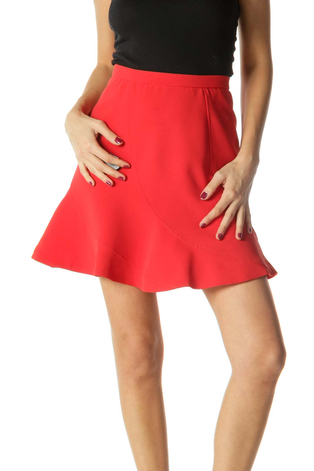 Red Side Zippered Flared Skirt