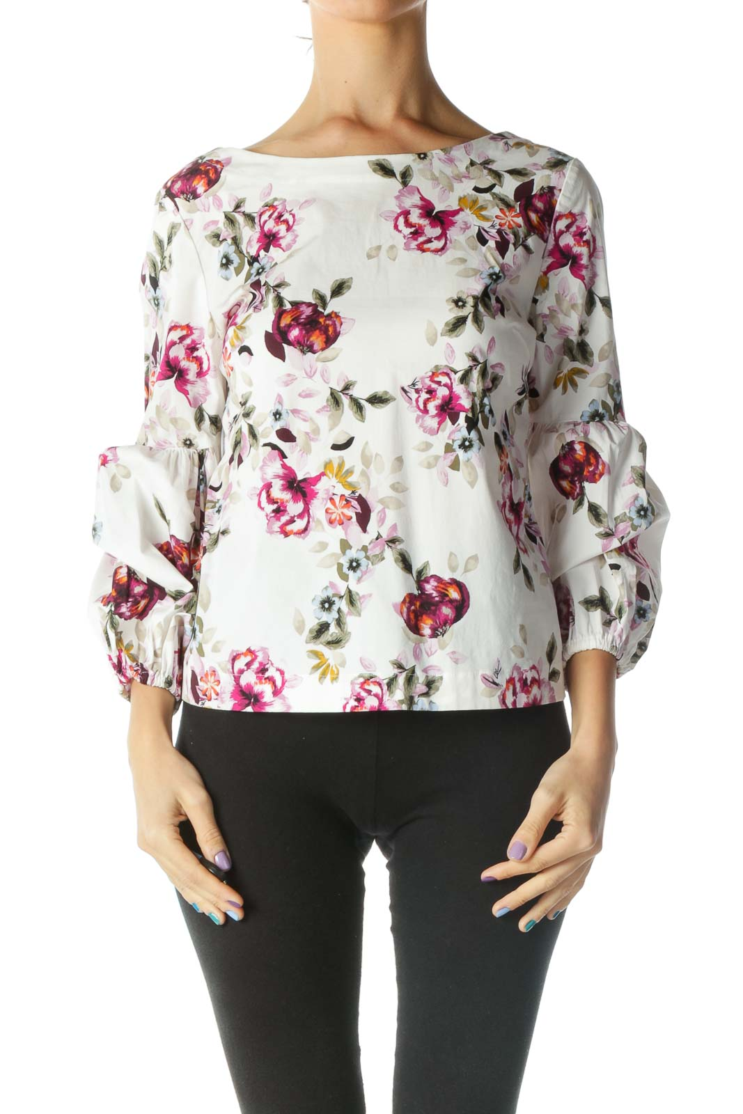 White Multicolored Floral Print Bishop Sleeve Blouse