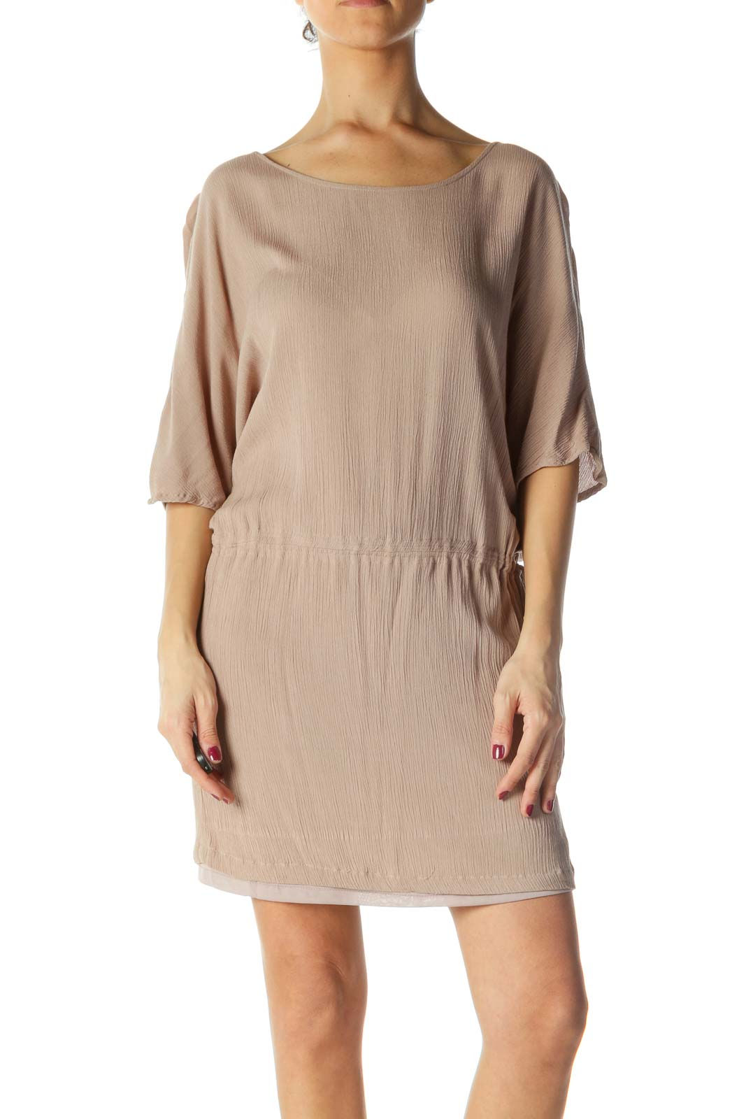 Brown Ribbed Short Sleeve Dress