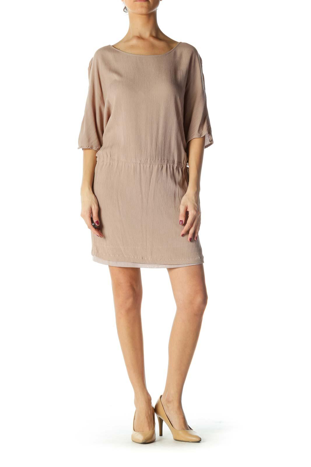 Brown Ribbed Short Sleeve Dress