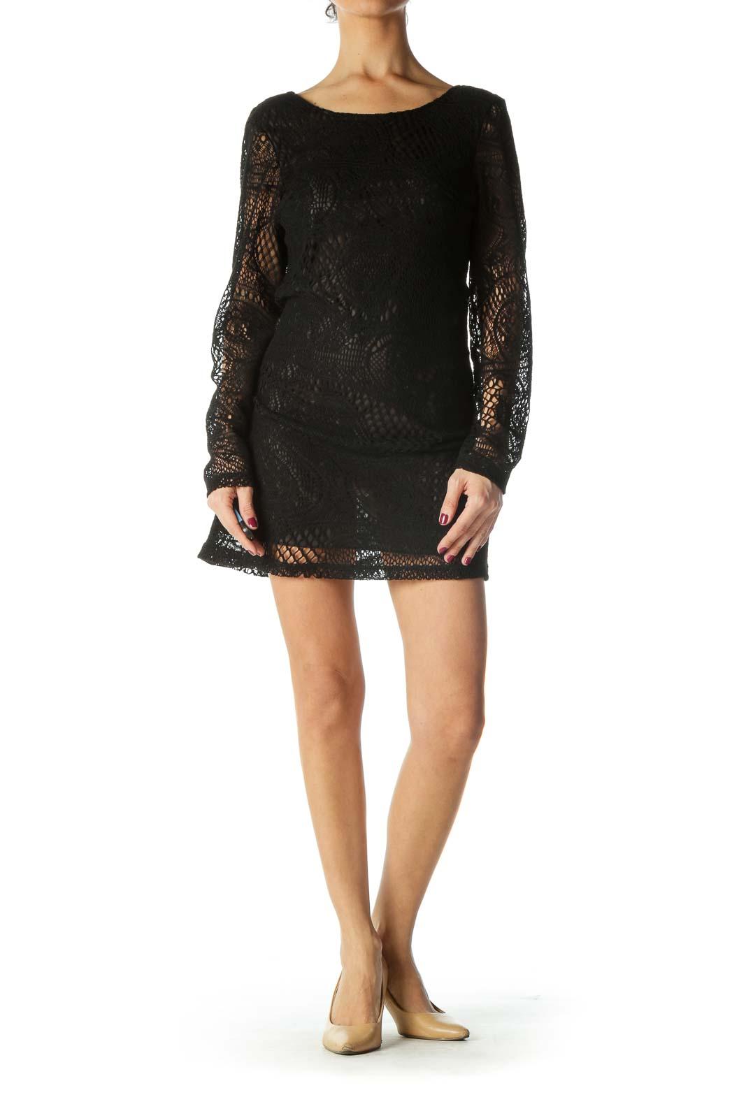 Black Knit Sheer Long Sleeve Dress