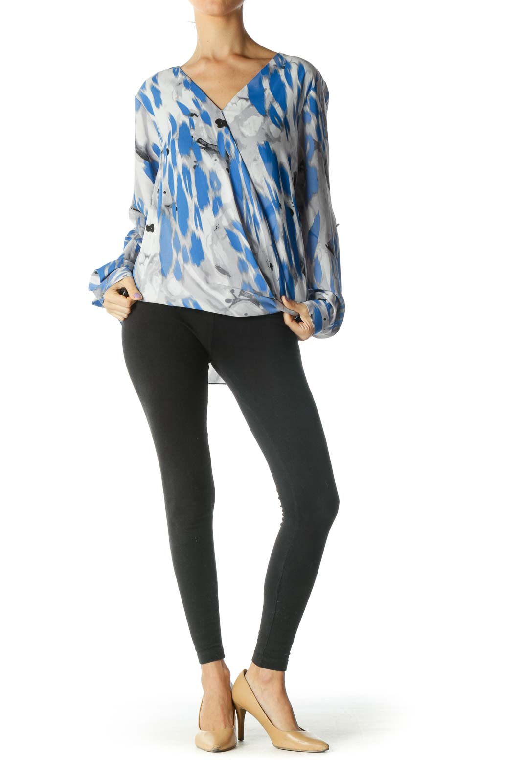 Grey, Blue, and Black Print V-Neck Long Sleeve Blouse