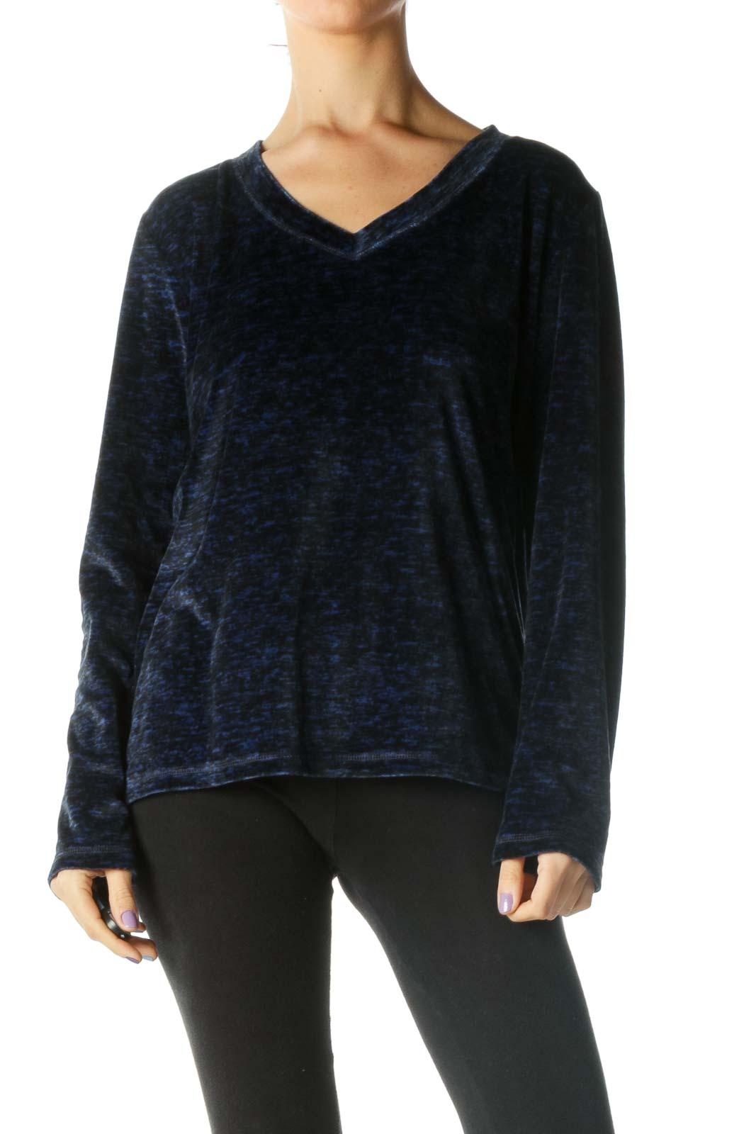Blue and Black Soft Long Sleeve V-neck Knit Top