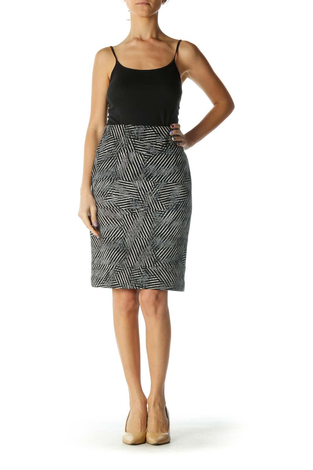 Black and White Zebra Print Bandage Wrap Pencil Skirt