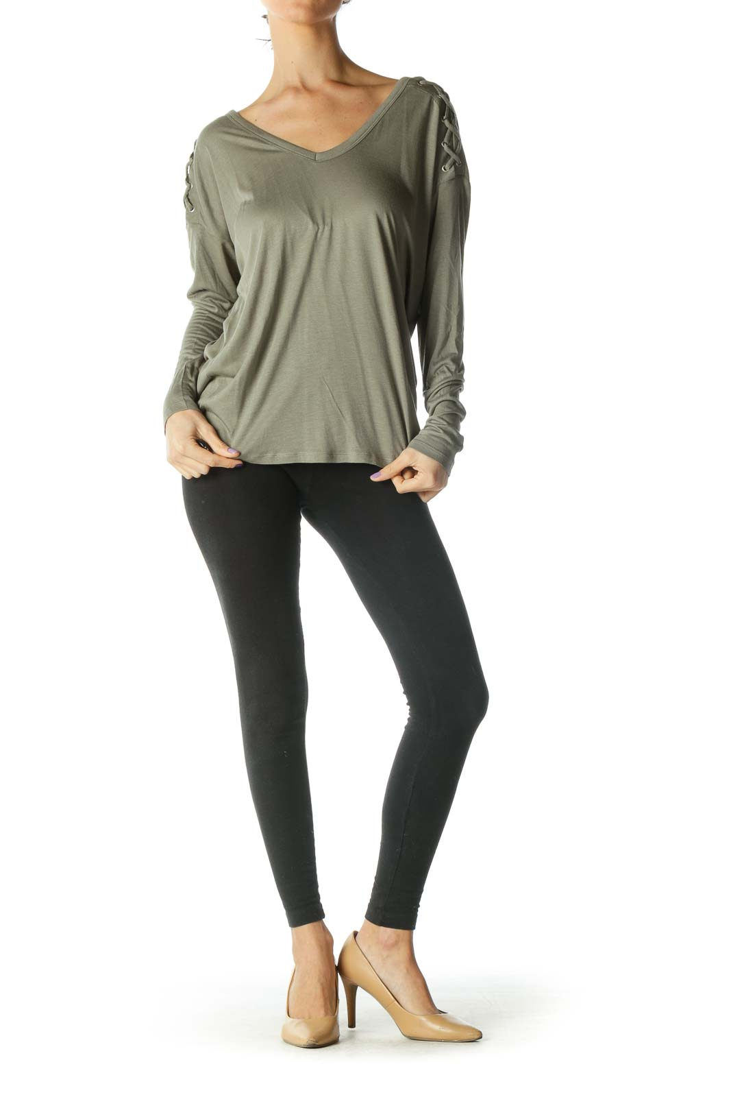 Grey Long Sleeve V Neck Shirt