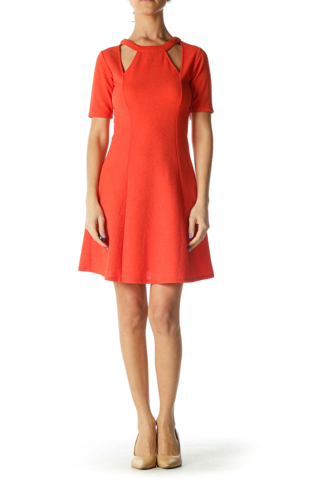 Orange Textured Cutout Cocktail Dress