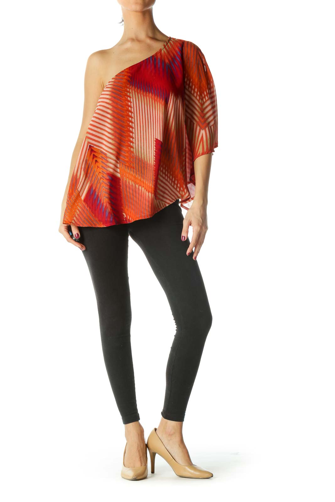 Orange One Shoulder Flowy Blouse
