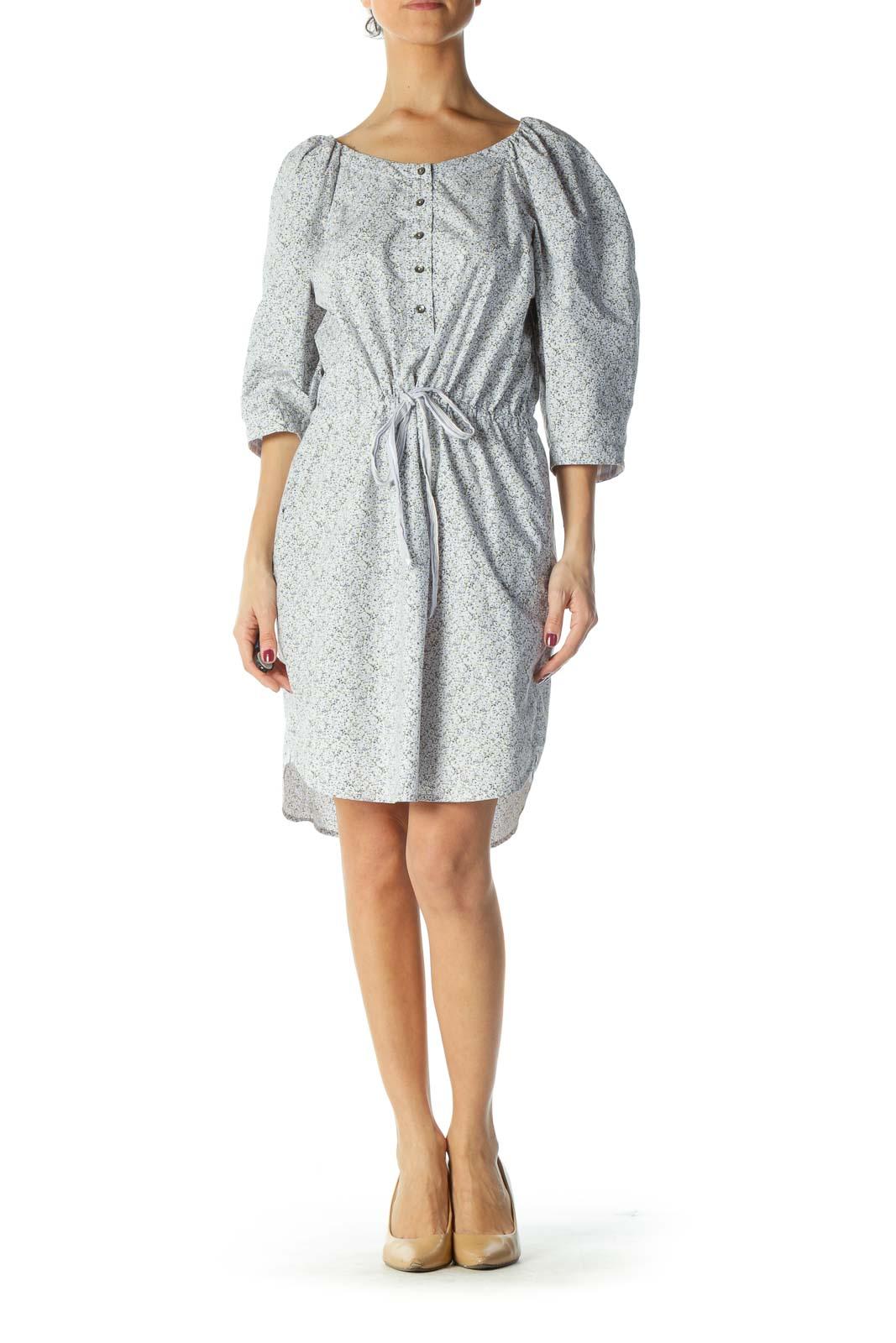 Blue Puff Sleeve Floral Print Dress