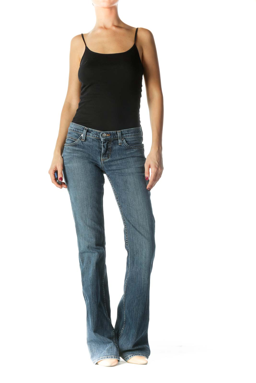 Blue Low-Rise Medium Wash Flared Jeans