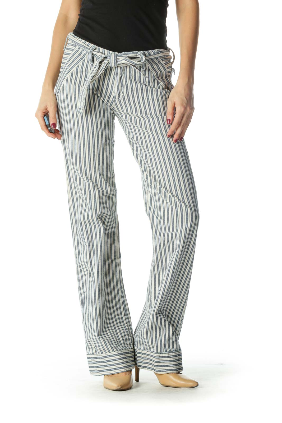 Blue and Cream Striped Wide-Leg Pants