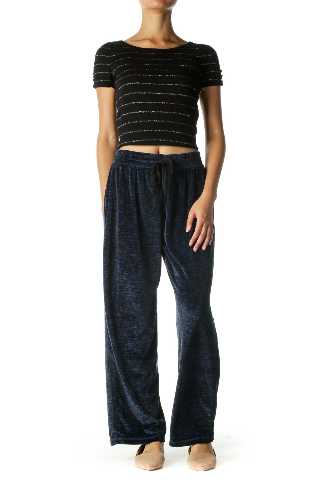 Black and Blue Print Sports Pants