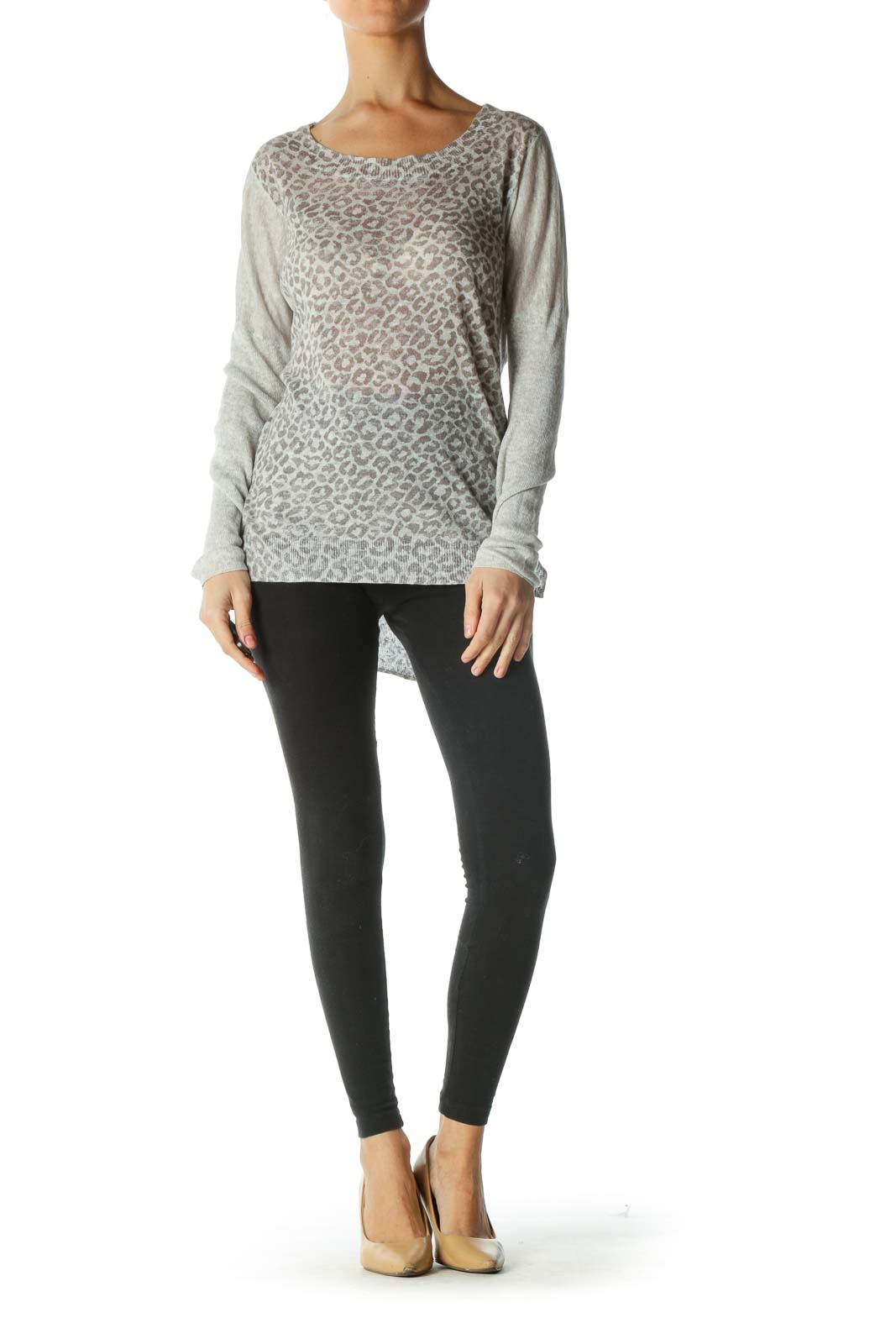 Gray Linen Cotton Animal Print Light Sweater
