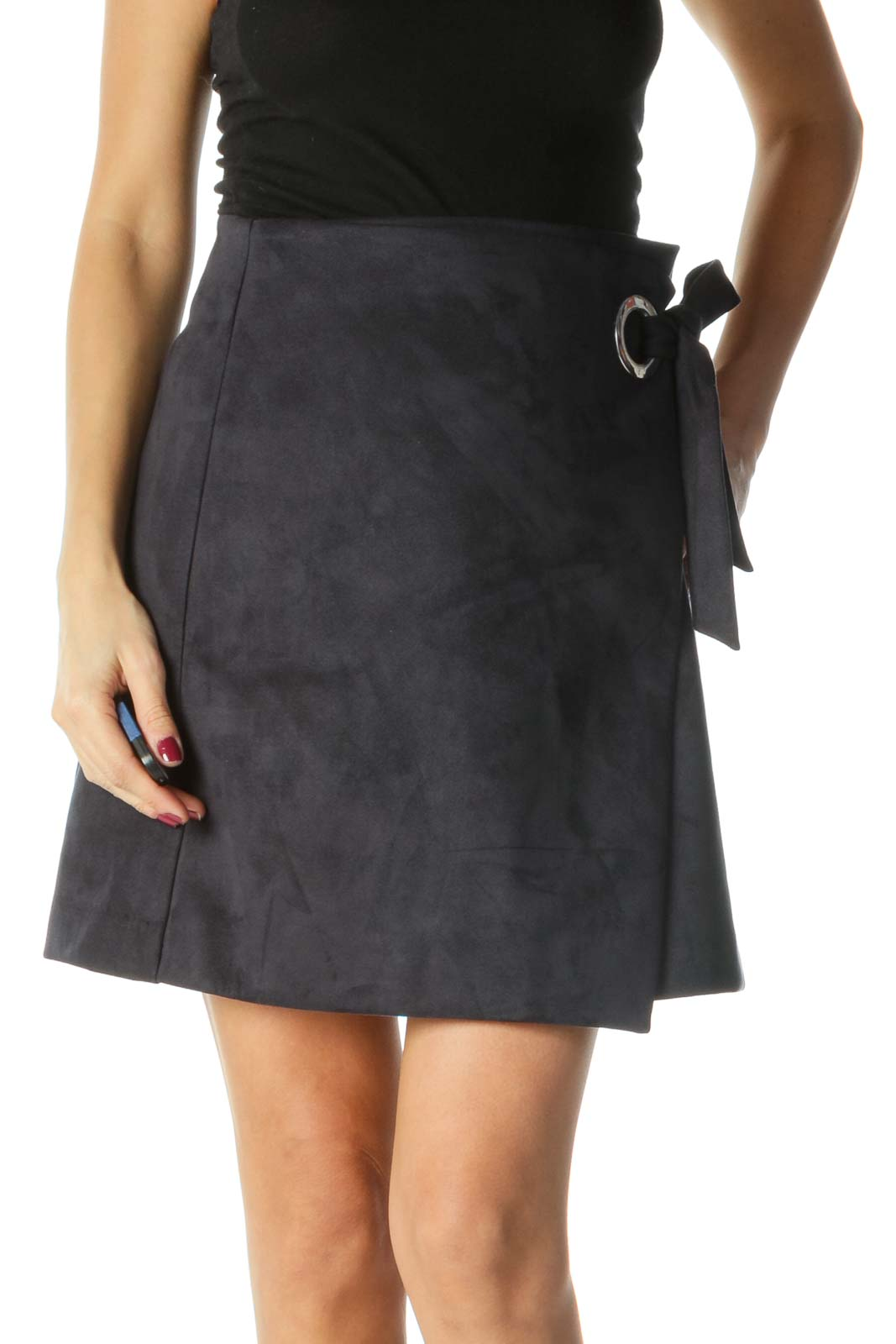 Blue Suede Flared Skirt with Wasit-tie