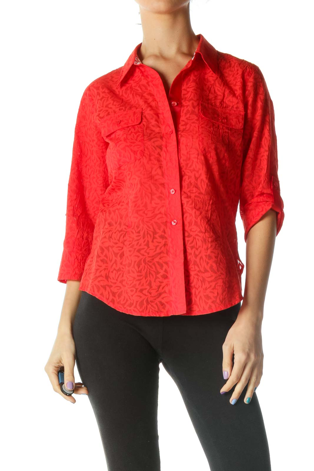 Red Floral 3/4 Sleeve Collared Shirt