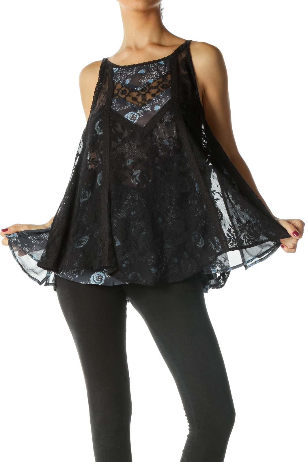 Black and Blue Print Lace Tank Top