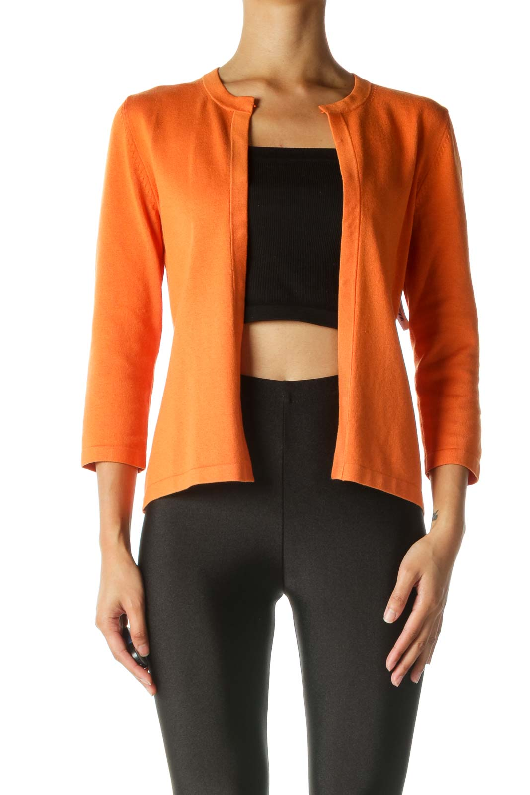 Orange 3/4 Sleeve Cardigan