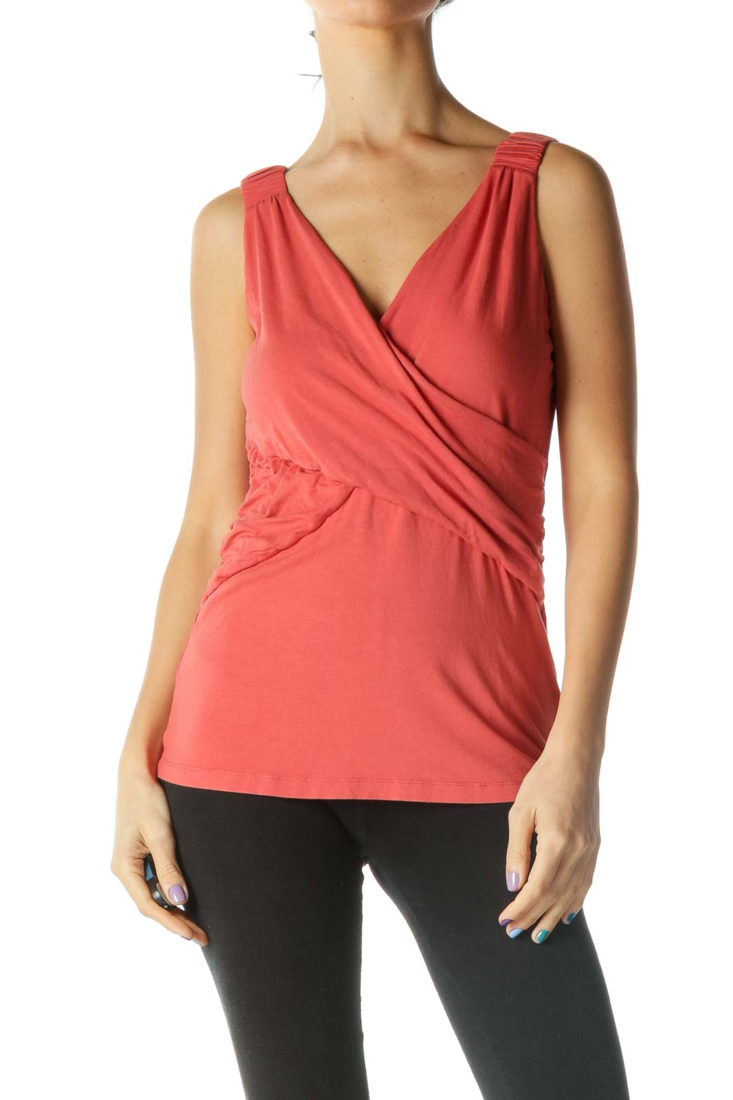 Orange Wrap V Neck Tank Top