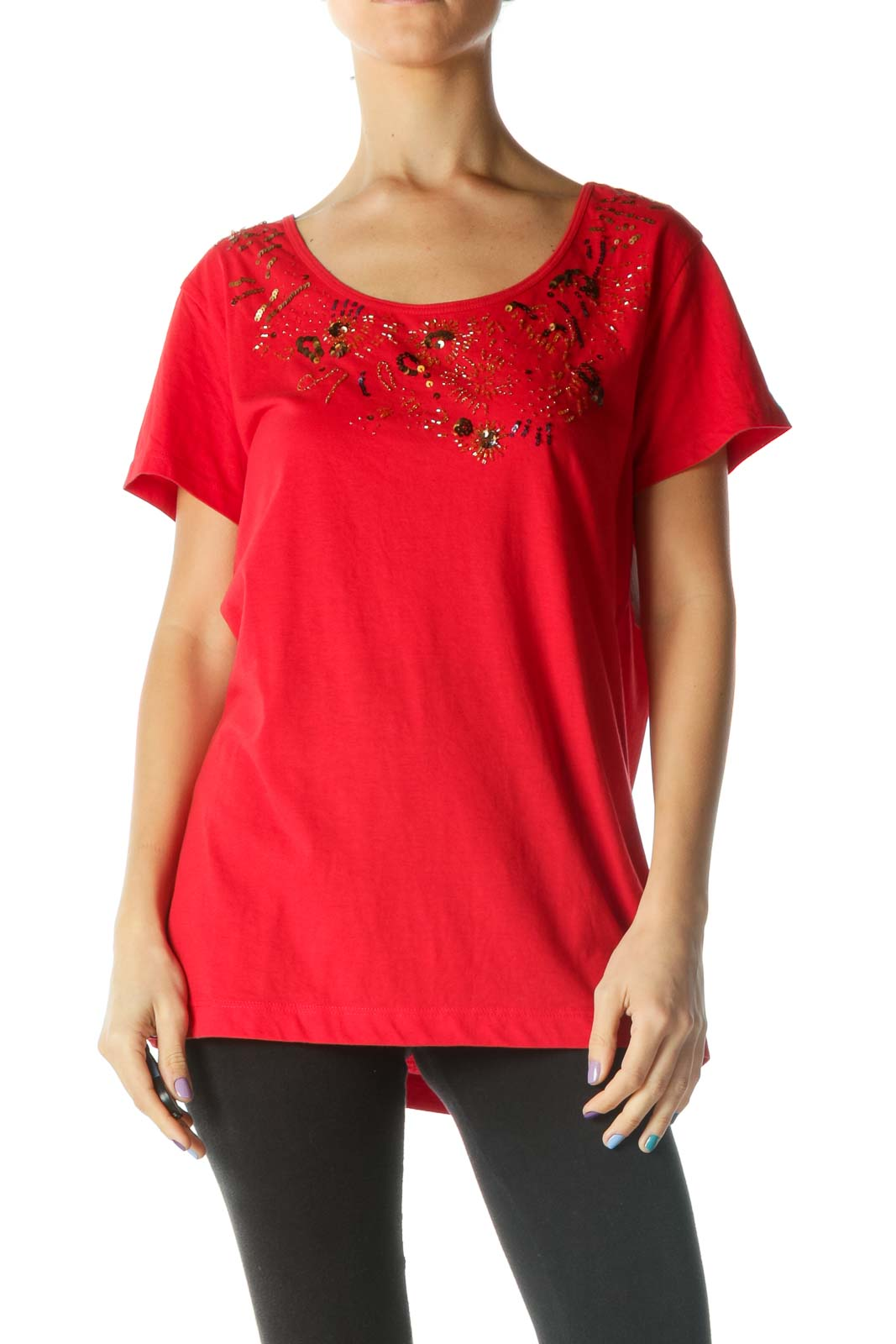 Red Beaded and Sequined T-Shirt