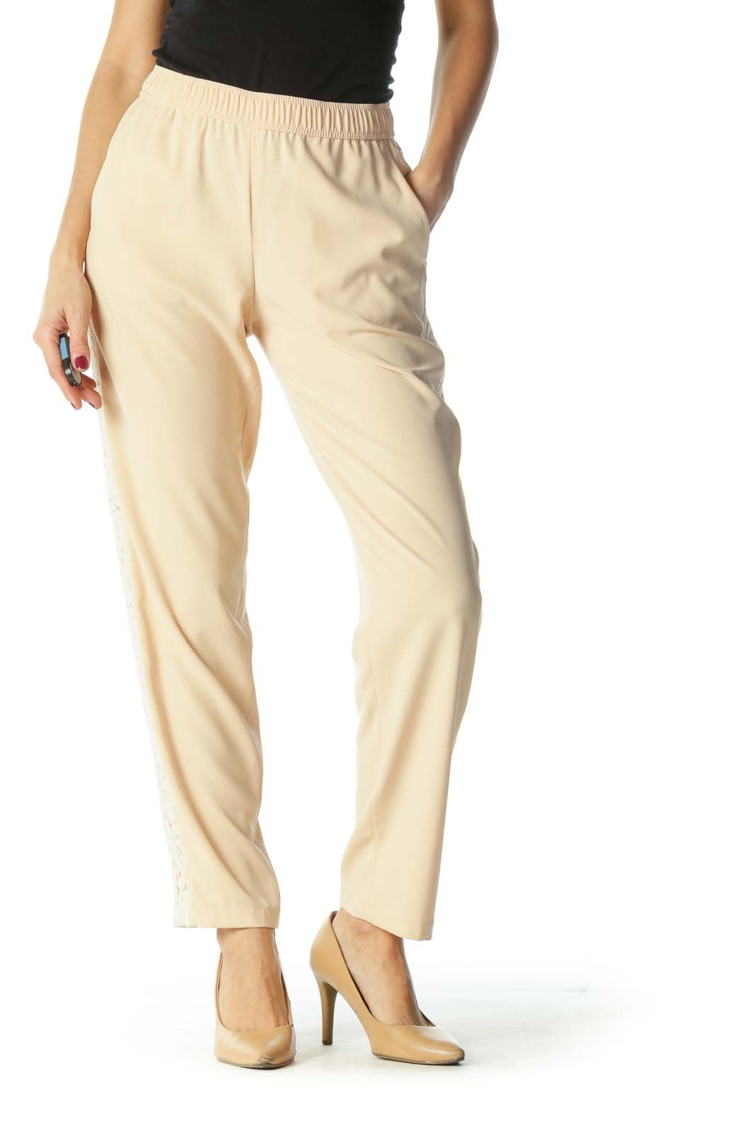 Cream Lace Tapered Pants