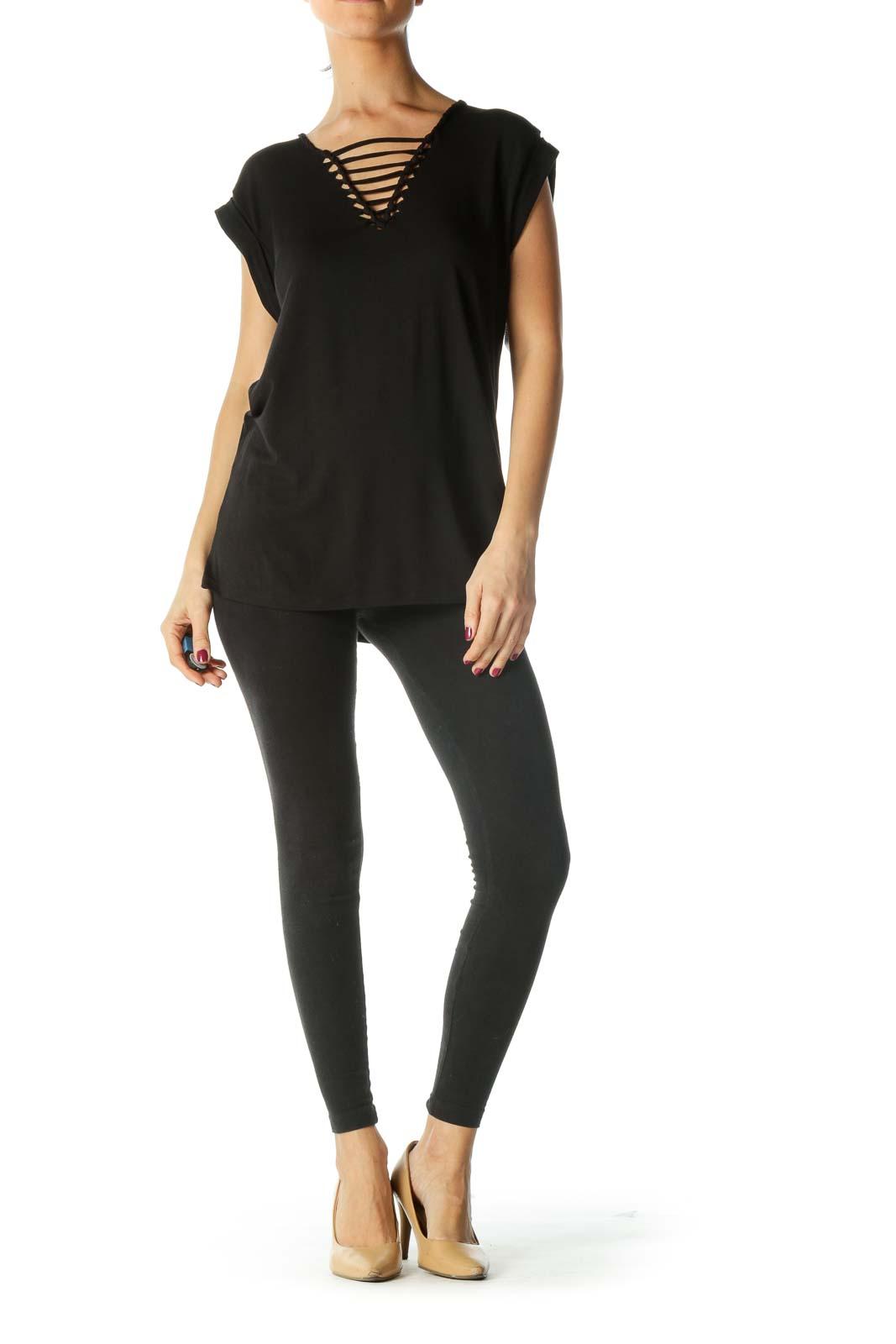 Black V-Neck Design Shirt