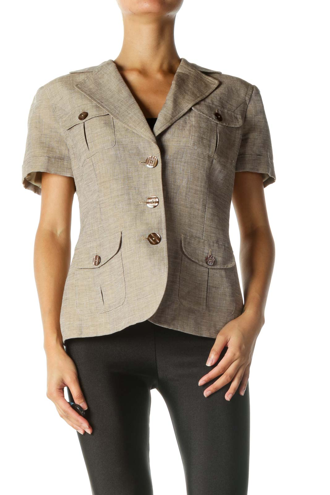 Brown Short Sleeve Blazer
