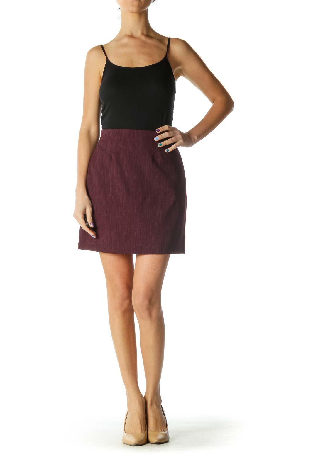 Burgundy Zipper Back Textured A-Line Skirt