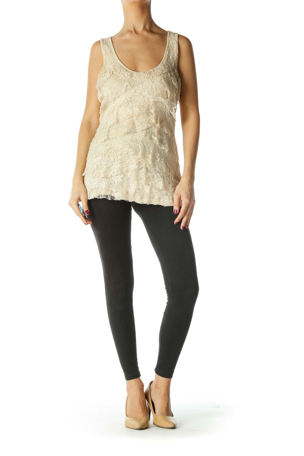 Beige Lace Tiered Tank