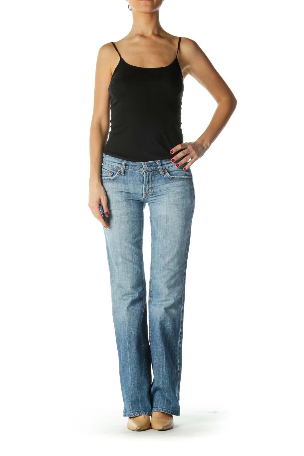 Blue Light-wash Flared Jeans