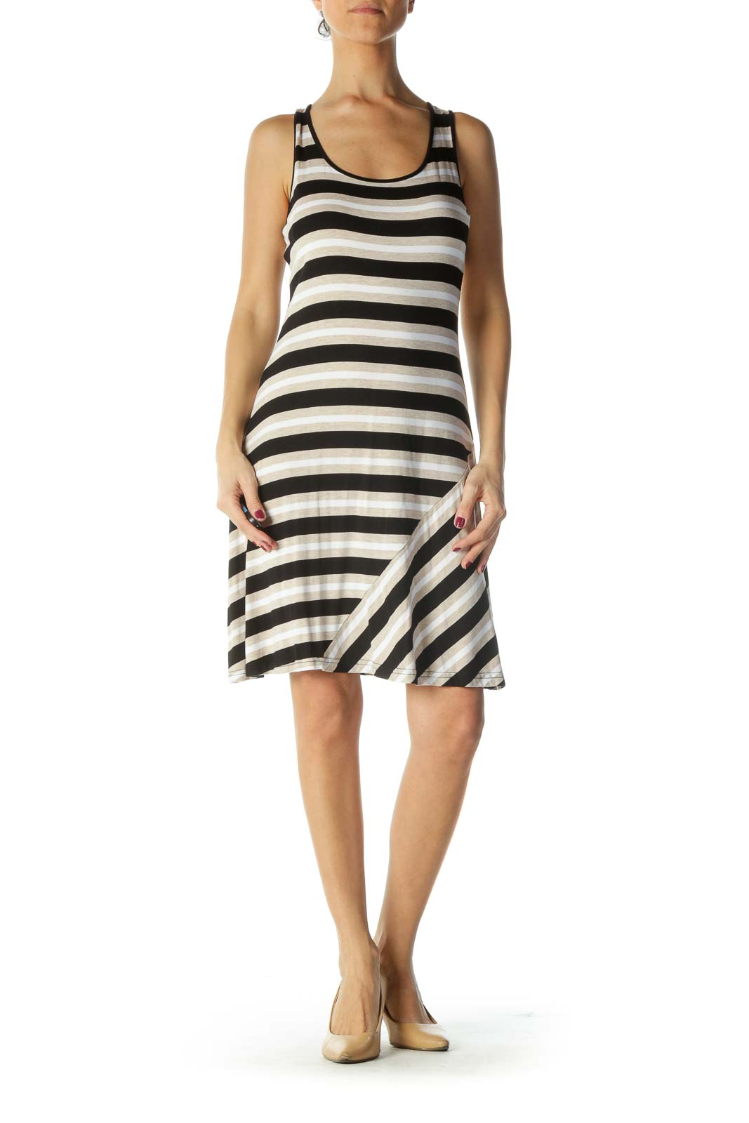 Black and Cream Striped Day Dress